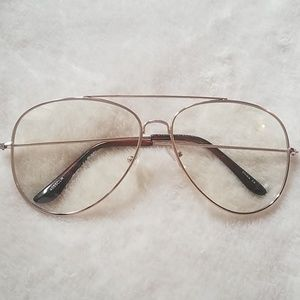 Accessories - Clear Aviator Glasses, Gold Frame